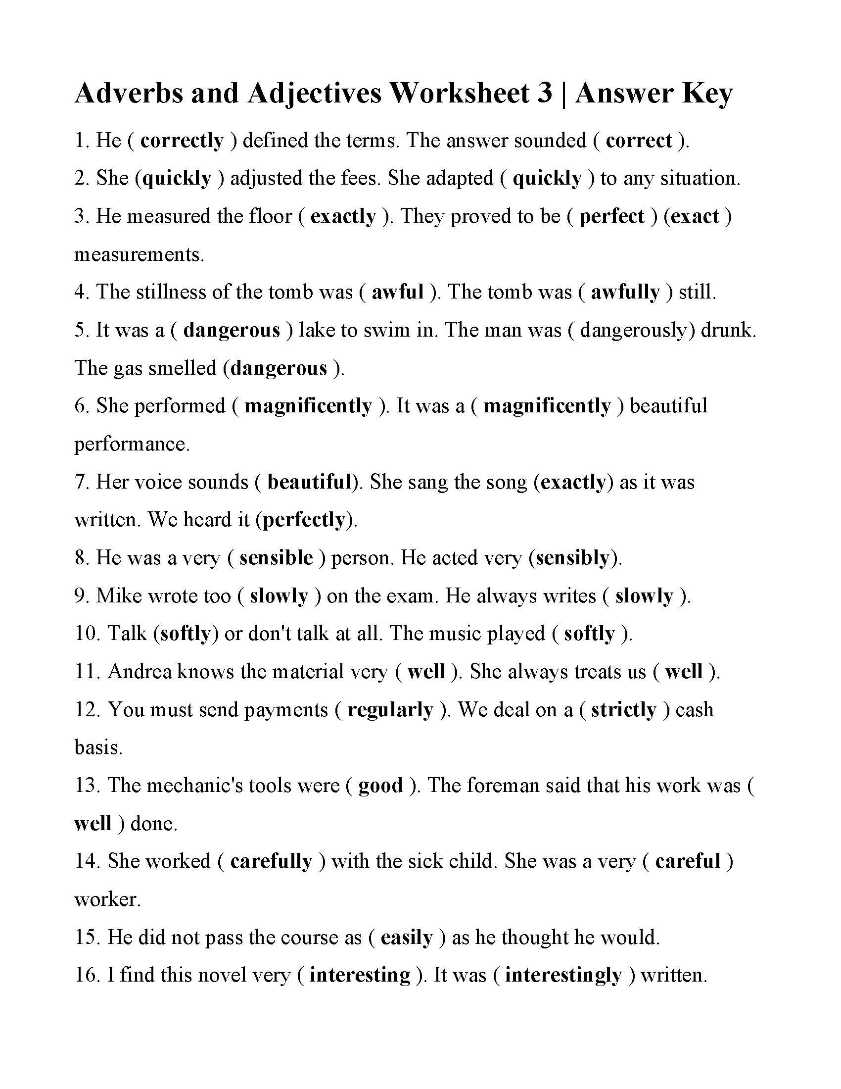 Adverbs And Adjectives Worksheet 3  Answers For Adjective And Adverb Worksheets With Answer Key