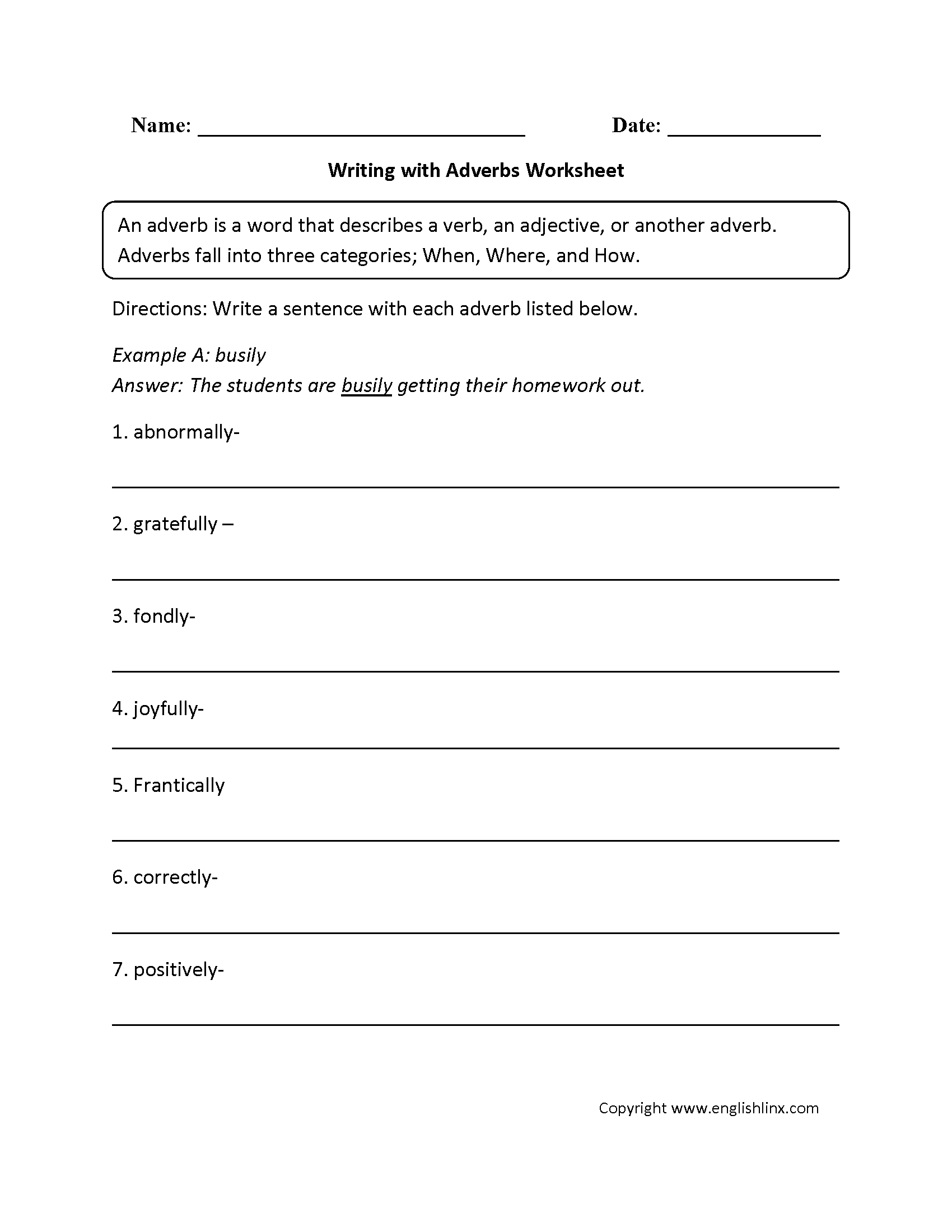 Adverbs Worksheets  Regular Adverbs Worksheets Within Adverb Worksheets Pdf