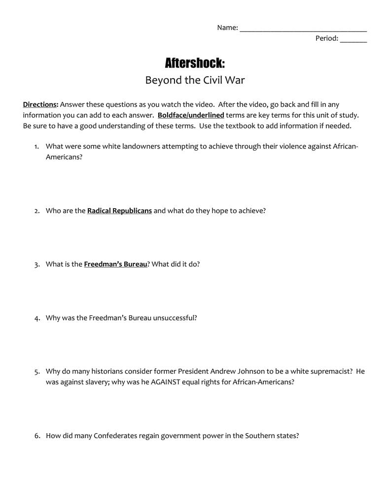 Aftershock Beyond The Civil War For Radical Republican Reconstruction Worksheet Answers