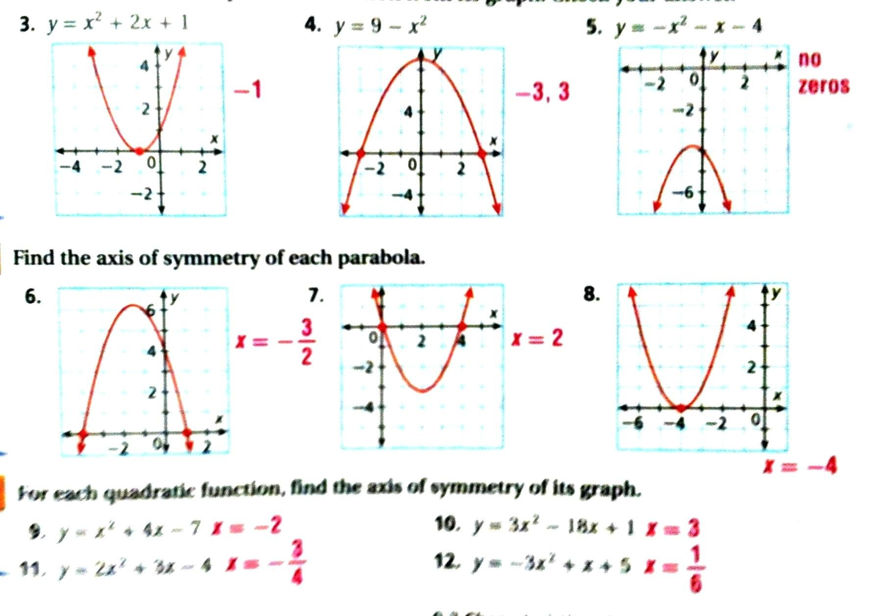 Algebra 1 Quadratic Formula Worksheet Answers Math Characteristics Pertaining To Quadratic Functions Worksheet Answers