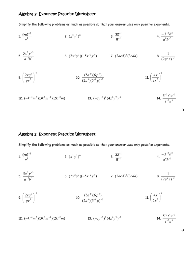 Algebra 2 Exponent Practice Worksheet Intended For Algebra 2 Worksheet Answers