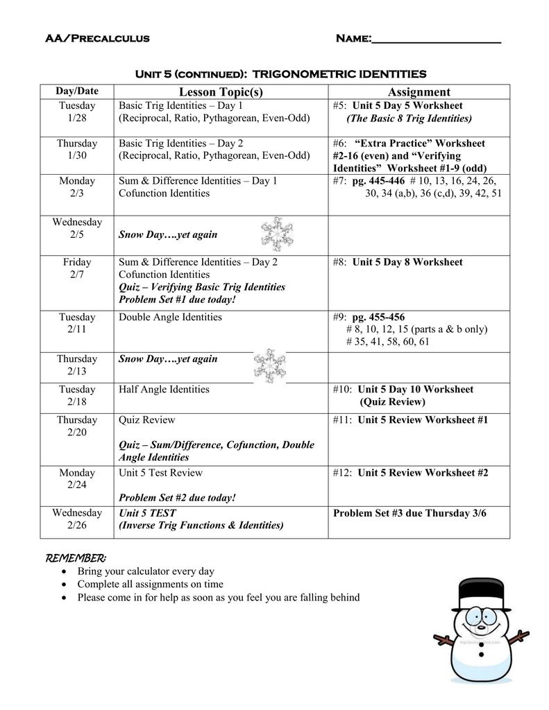 Algebra 2 In Worksheet The Basic 8 Trig Identities