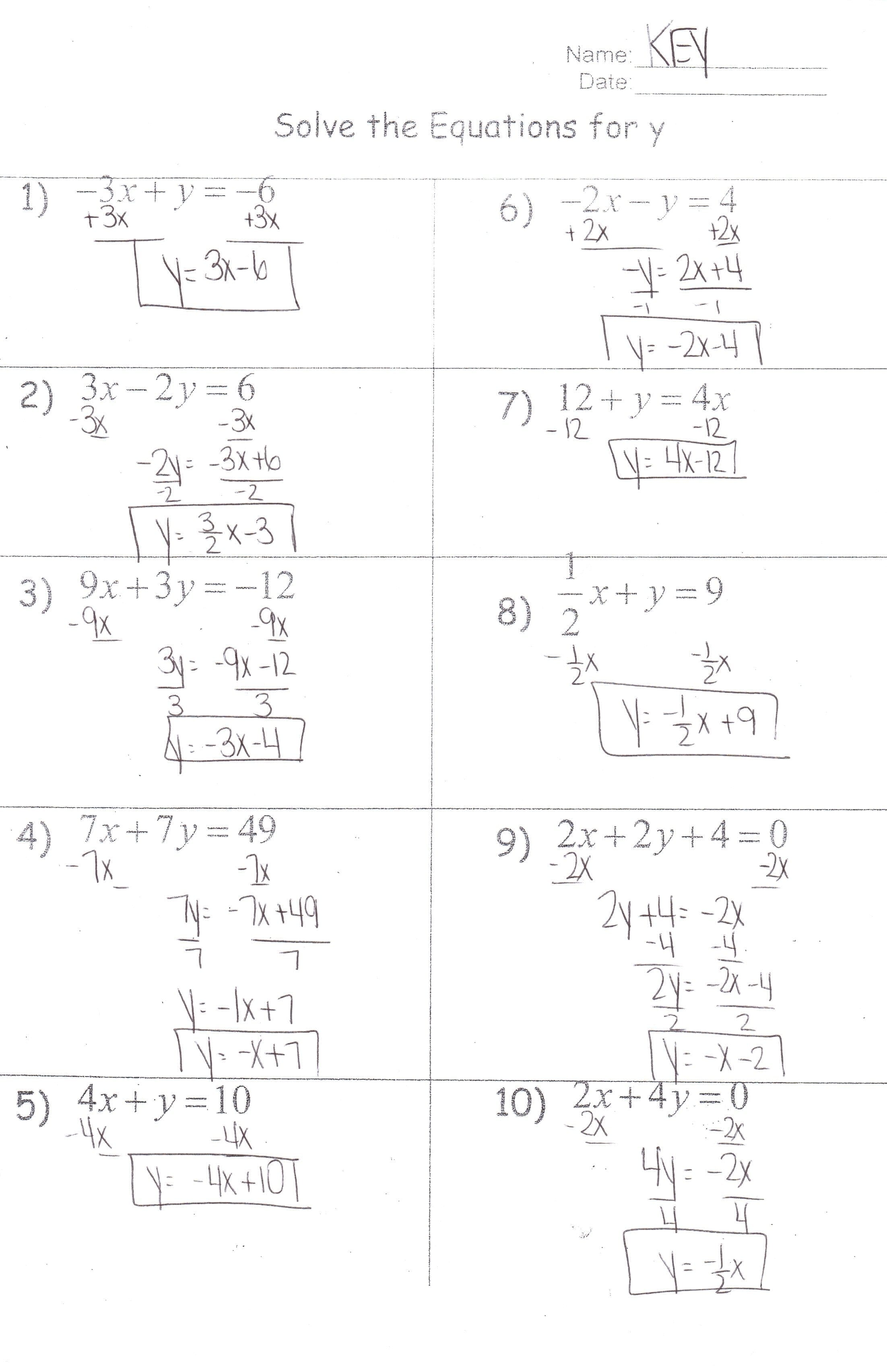 Algebra Ihonors  Mrs Jenee Blanco Go Mustangs Intended For Solving Equations With Variables On Both Sides Worksheet Answer Key