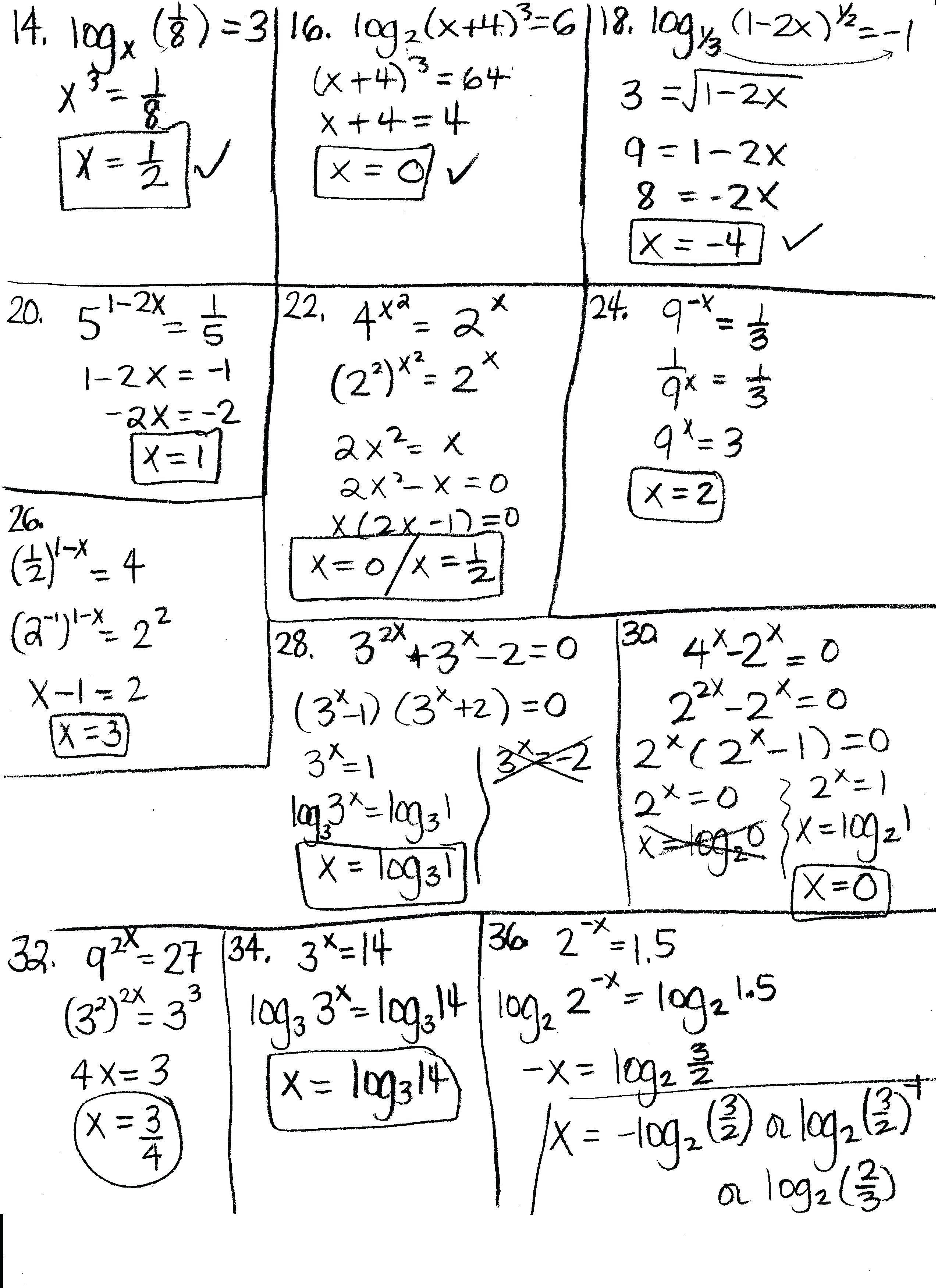 Algebra Log Math Algebra 2 Logarithm And Exponential Functions Test Pertaining To Logarithm Worksheet With Answers