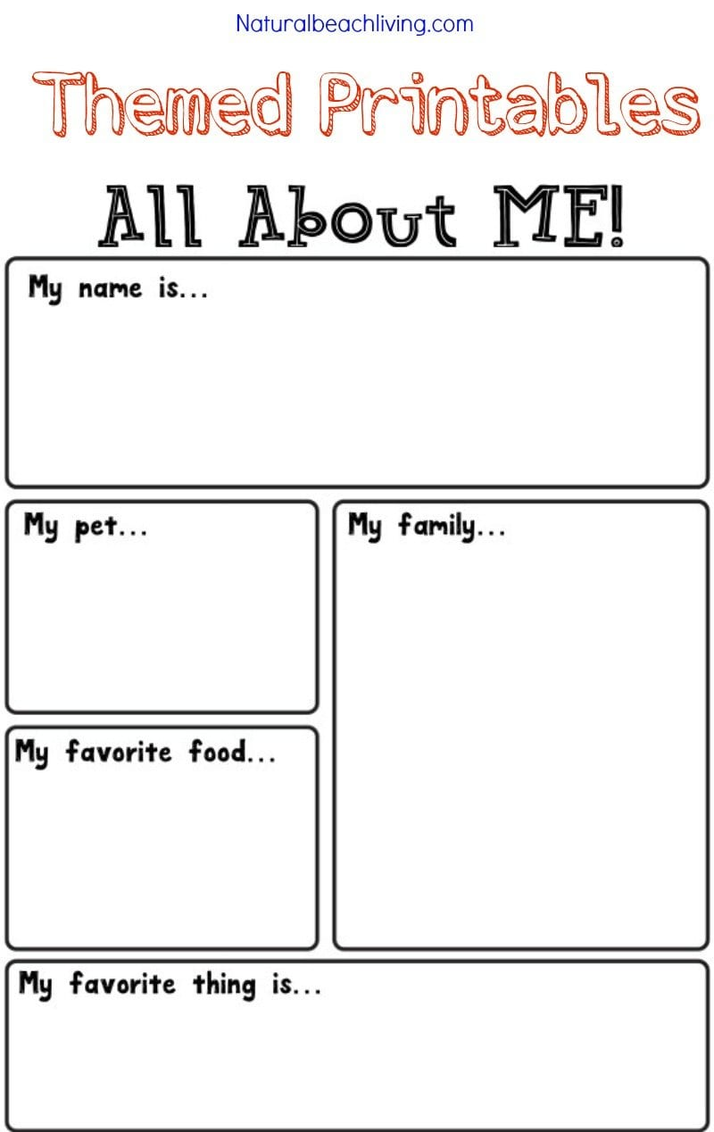 All About Me Activity Theme For Preschool  Kindergarten  Natural Intended For Fun Worksheets For Kids