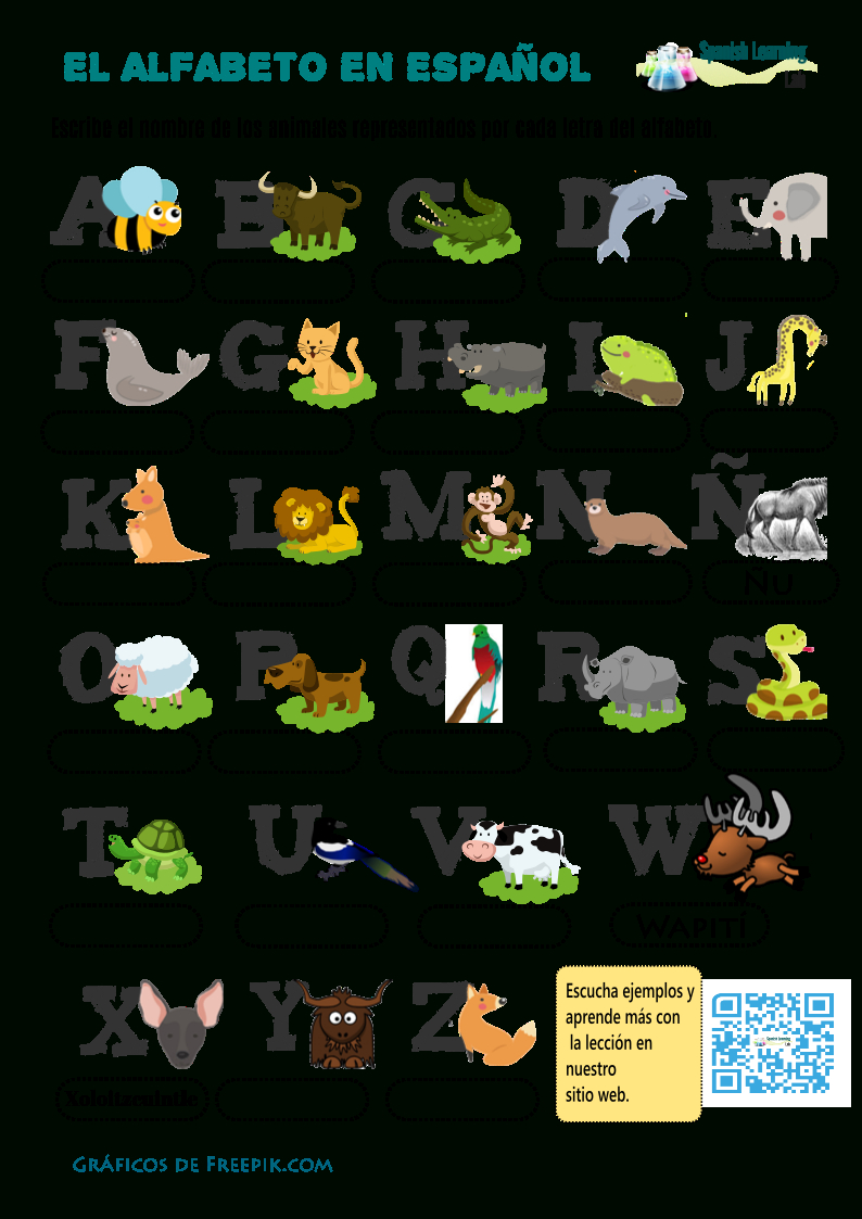 Alphabet In Spanish With Animals Worksheet  Pdf  Spanishlearninglab And Basic Spanish Worksheets Pdf