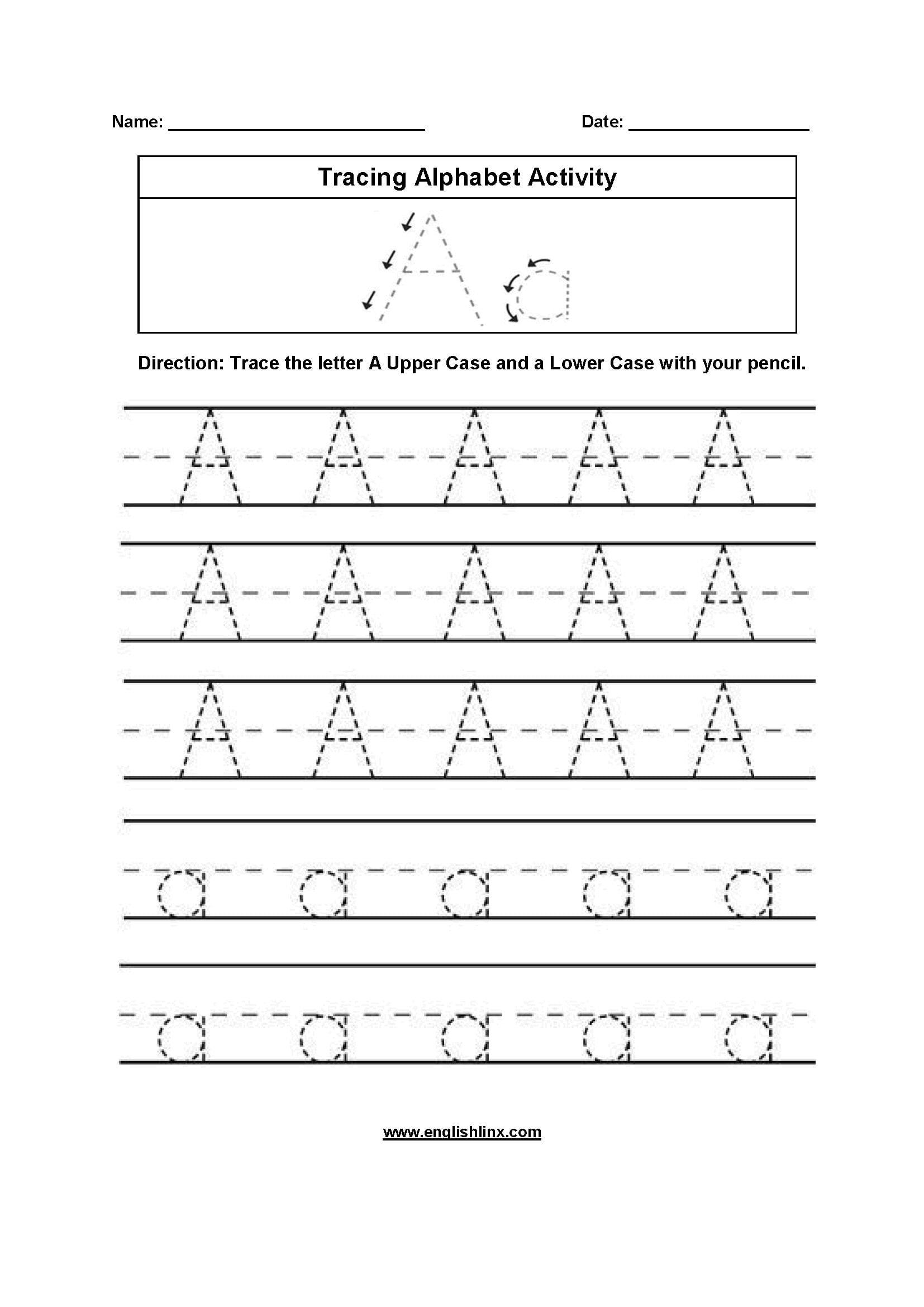 Alphabet Worksheets  Tracing Alphabet Worksheets With Letter Tracing Worksheets Pdf