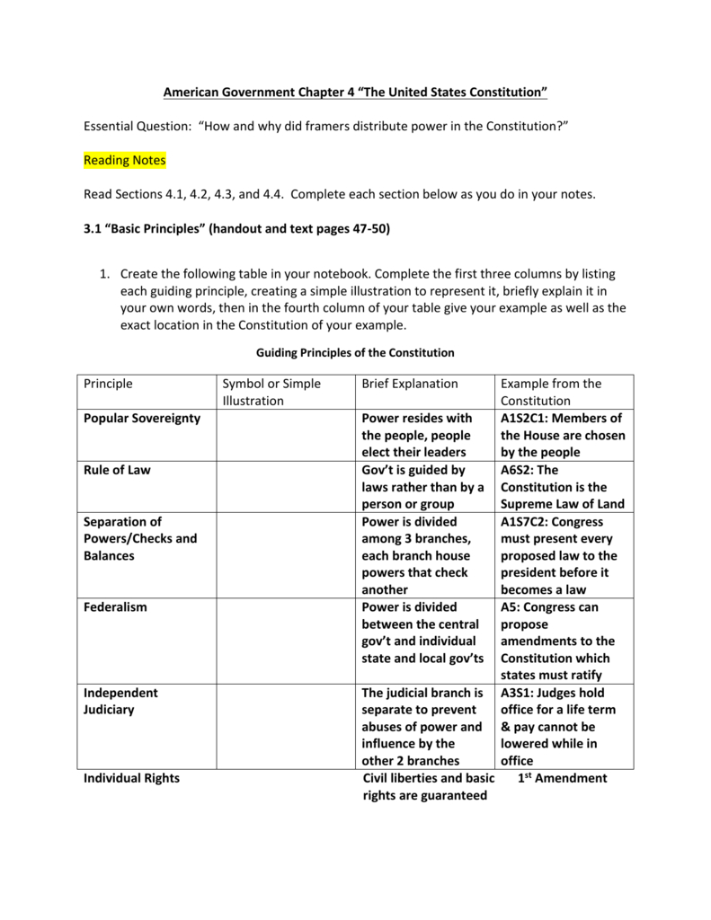 "American Government Chapter 4 ""The United States Constitution Together With Constitutional Principles Worksheet Answers"