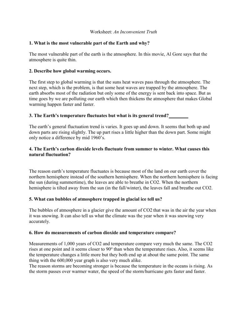 An Inconvenient Truth Worksheet Inside An Inconvenient Truth Worksheet Answers