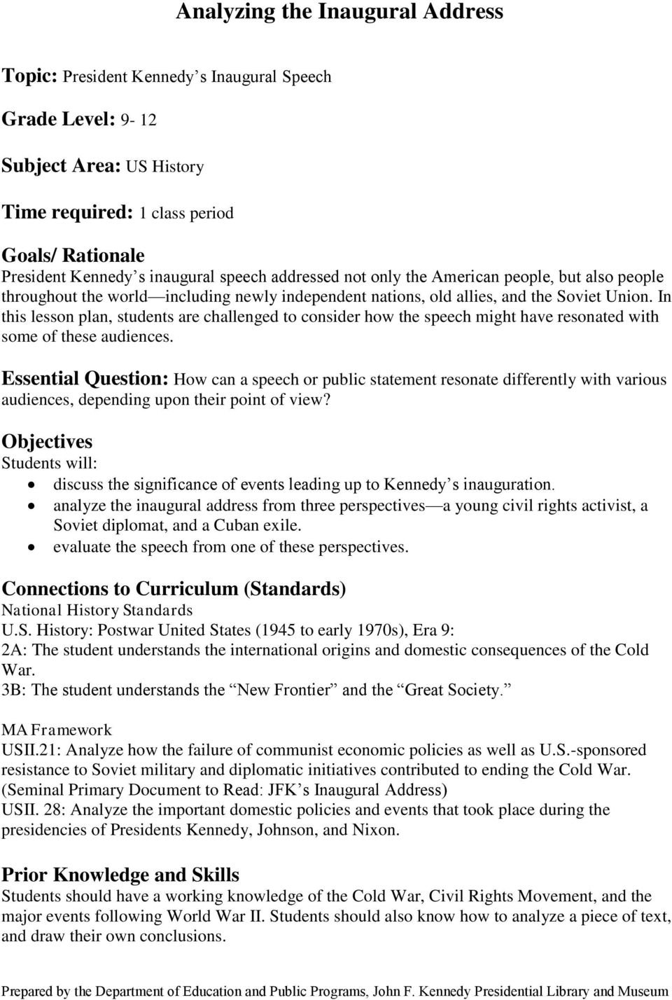 Analyzing The Inaugural Address  Pdf Inside The New Frontier And The Great Society Worksheet Answers