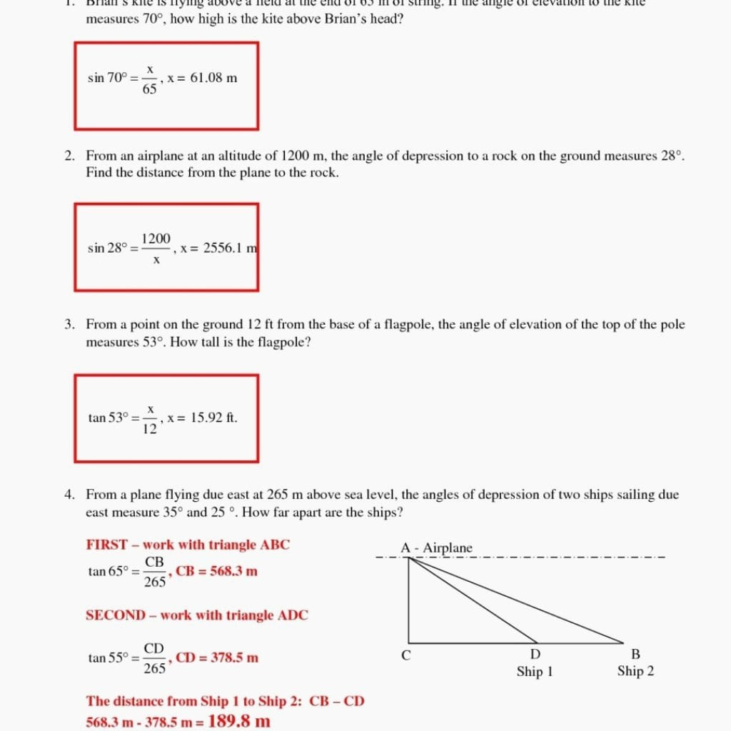 Angle Of Elevation And Depression Trig Worksheet Answers  Yooob With Angle Of Elevation And Depression Trig Worksheet Answers