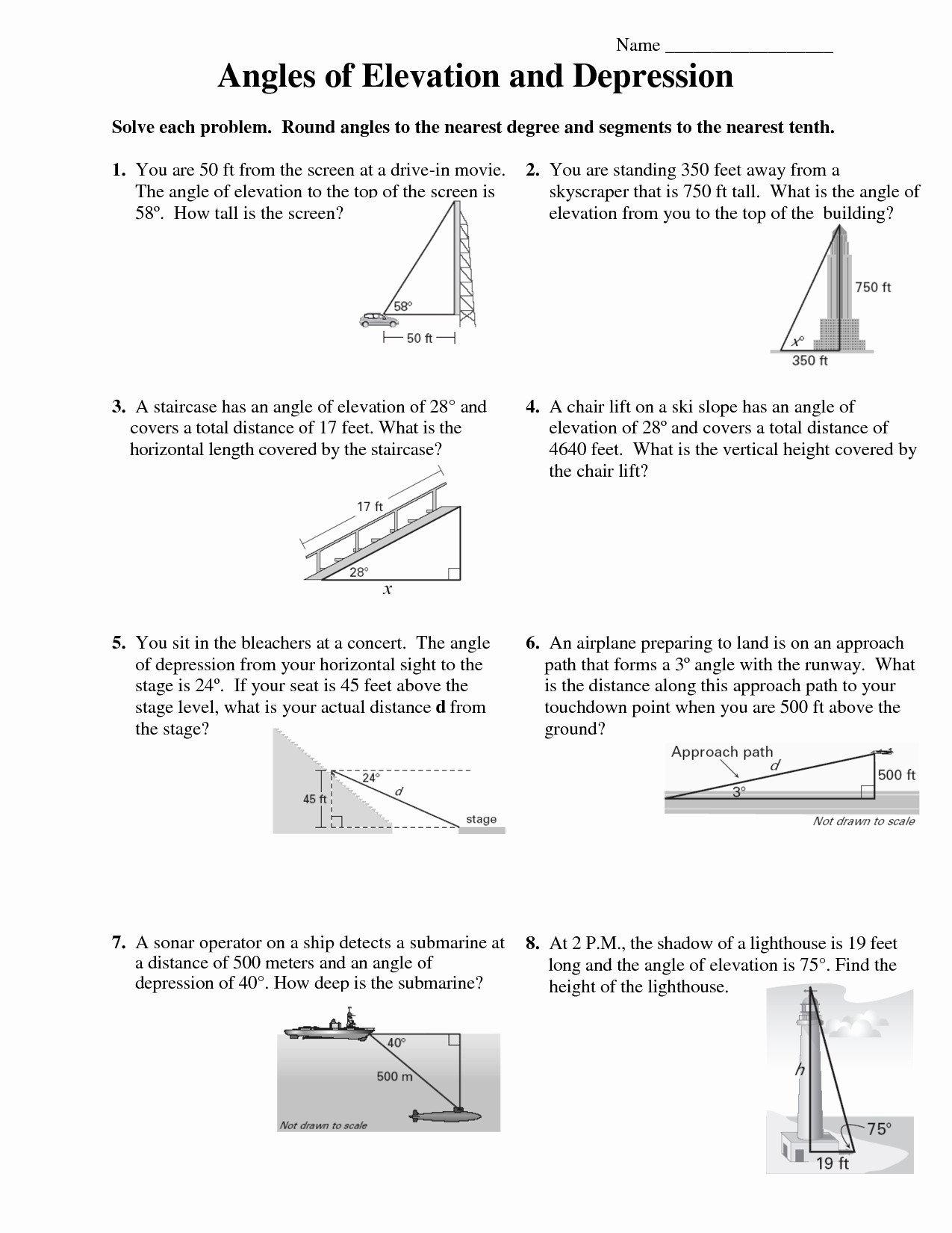 Angle Of Elevation And Depression Worksheet With Answers  Yooob In Angles Of Depression And Elevation Worksheet Answers