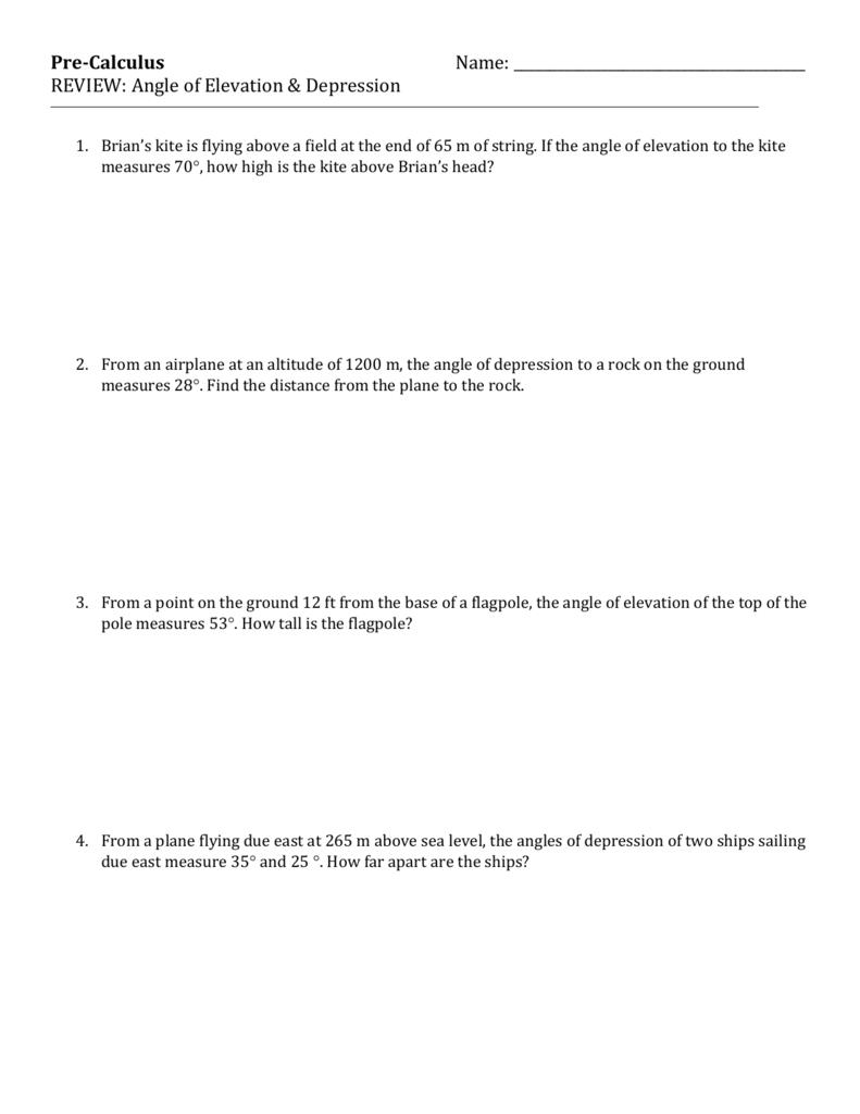Angle Of Elevation  Depression Trig Worksheet 4 Inside Angles Of Depression And Elevation Worksheet Answers