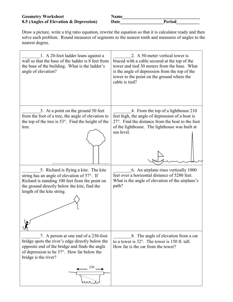 Angles Of Elevation  Depression For Angle Of Elevation And Depression Trig Worksheet Answers