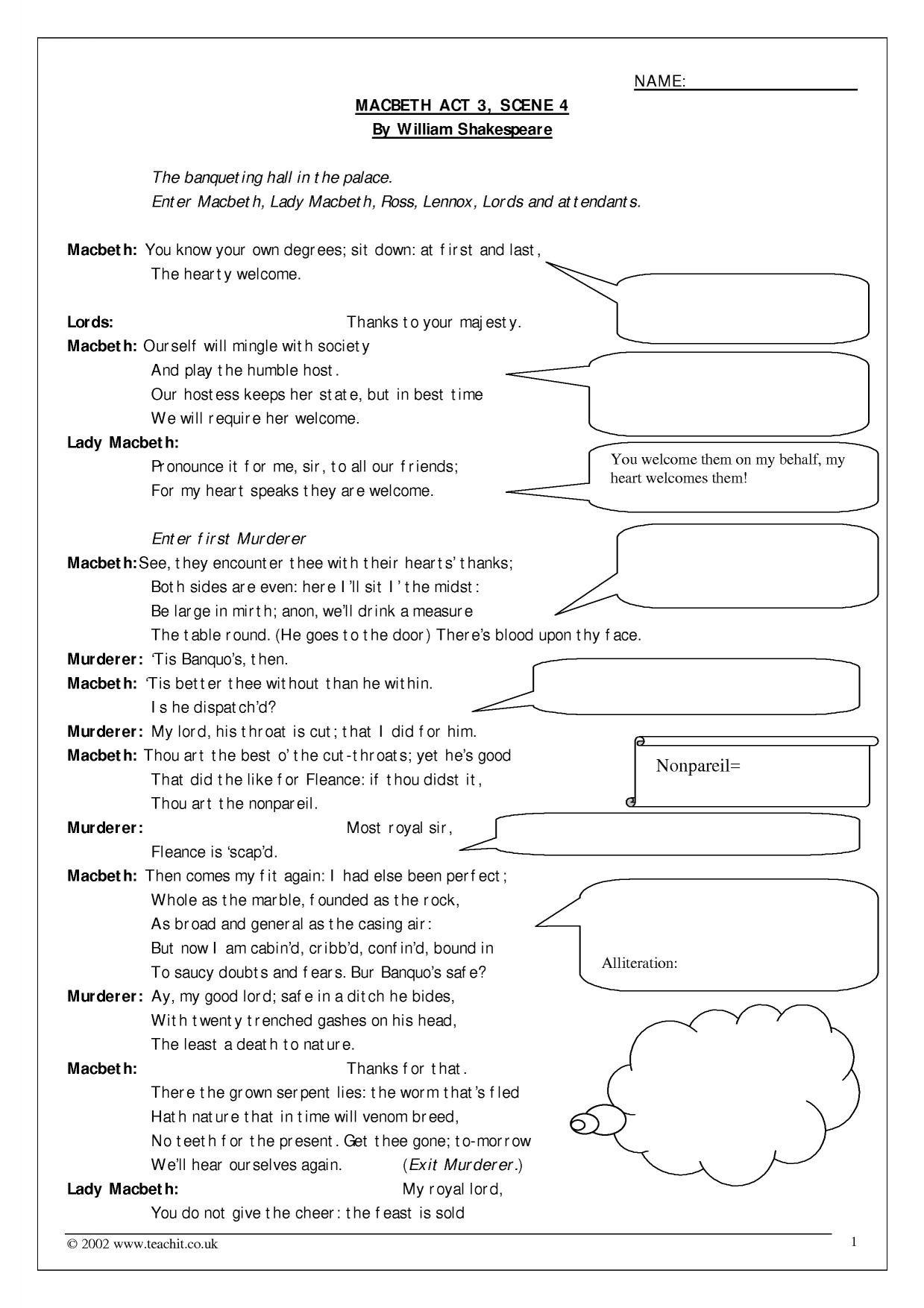 Annotatable Act 3 Scene 4 Inside Macbeth Act 3 Vocabulary Worksheet