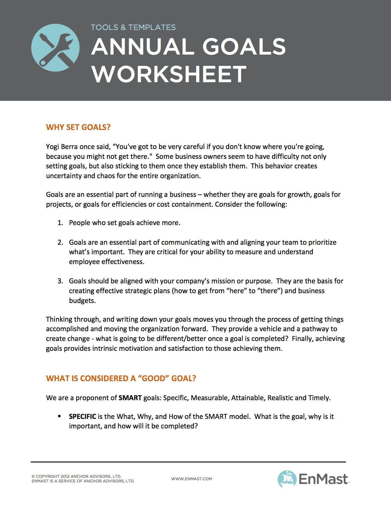 Annual Goal Setting Worksheet For Business Also Business Goal Setting Worksheet