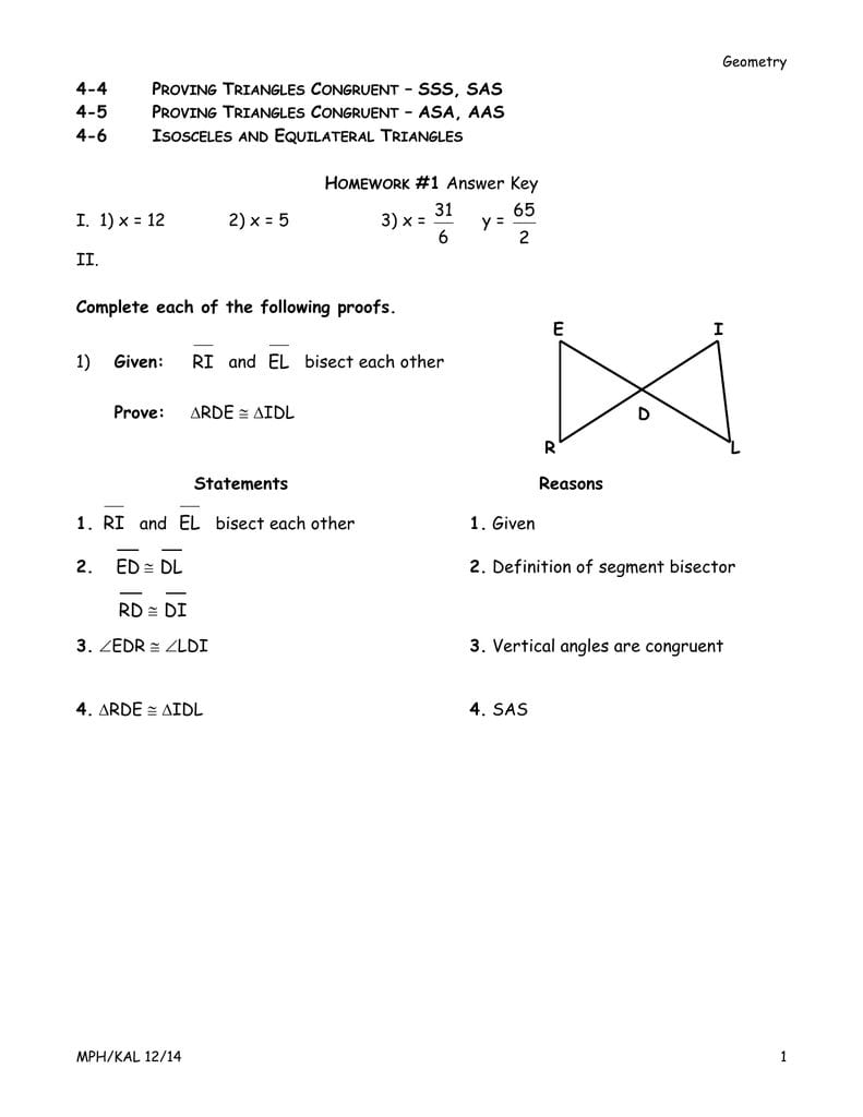 Answer Key And Proving Triangles Congruent Worksheet Answers