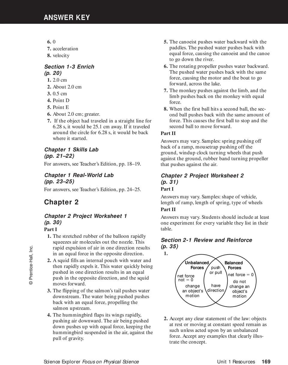 Answer Key Chapter 1  Pdf Pertaining To Section 2 Reinforcement Acceleration Worksheet Answers