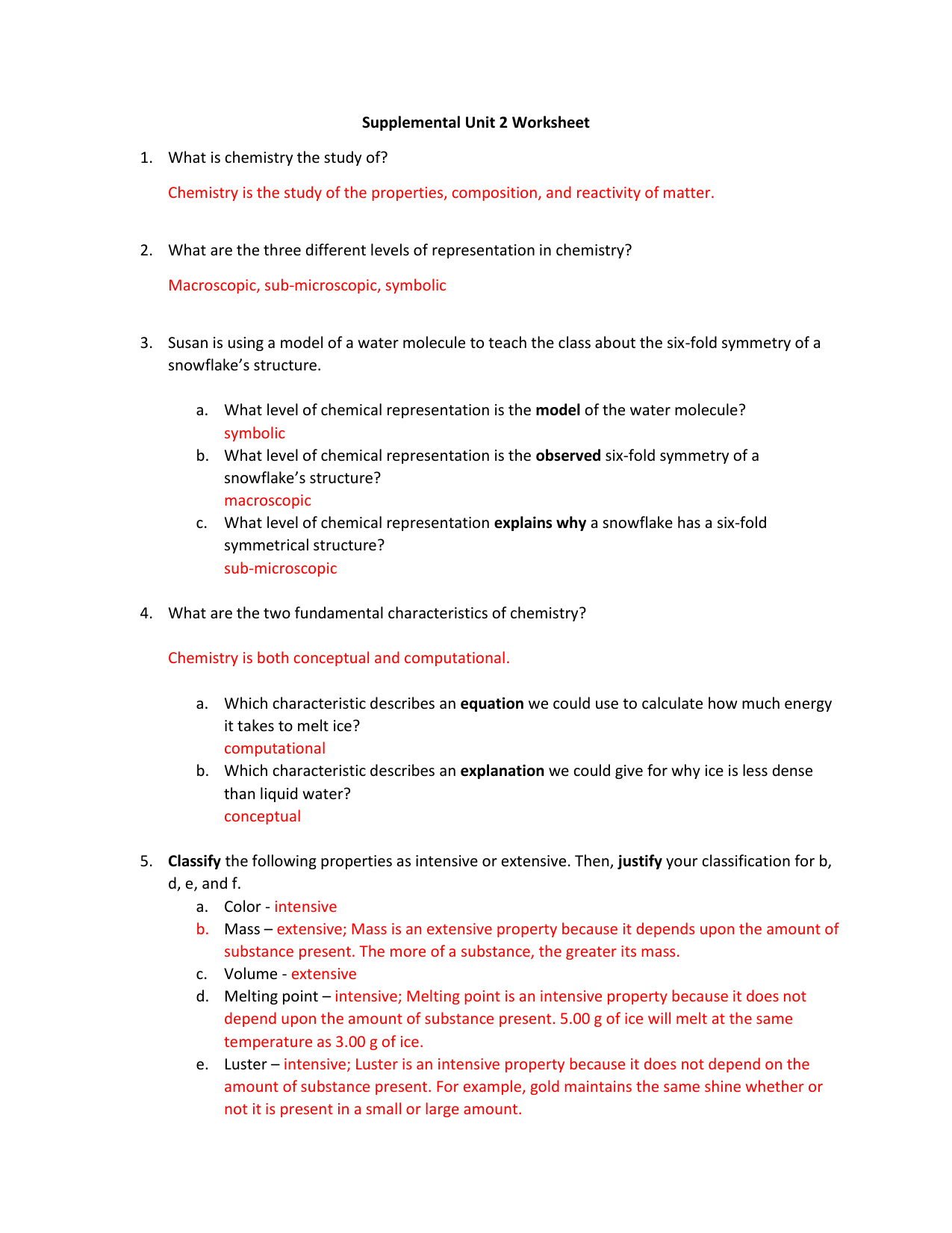 Answer Key  Supplemental Unit 2 Worksheet Pertaining To Unit 2 Worksheet 1 Chemistry Answers