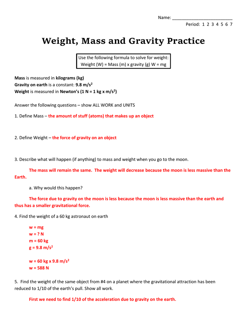 Answer Or Mass And Weight Worksheet Answers