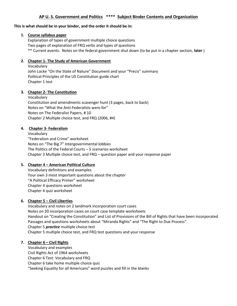 Ap U S Government And Politics  Subject Binder Contents And Regarding Bill Of Rights Scenarios Worksheet Answer Key