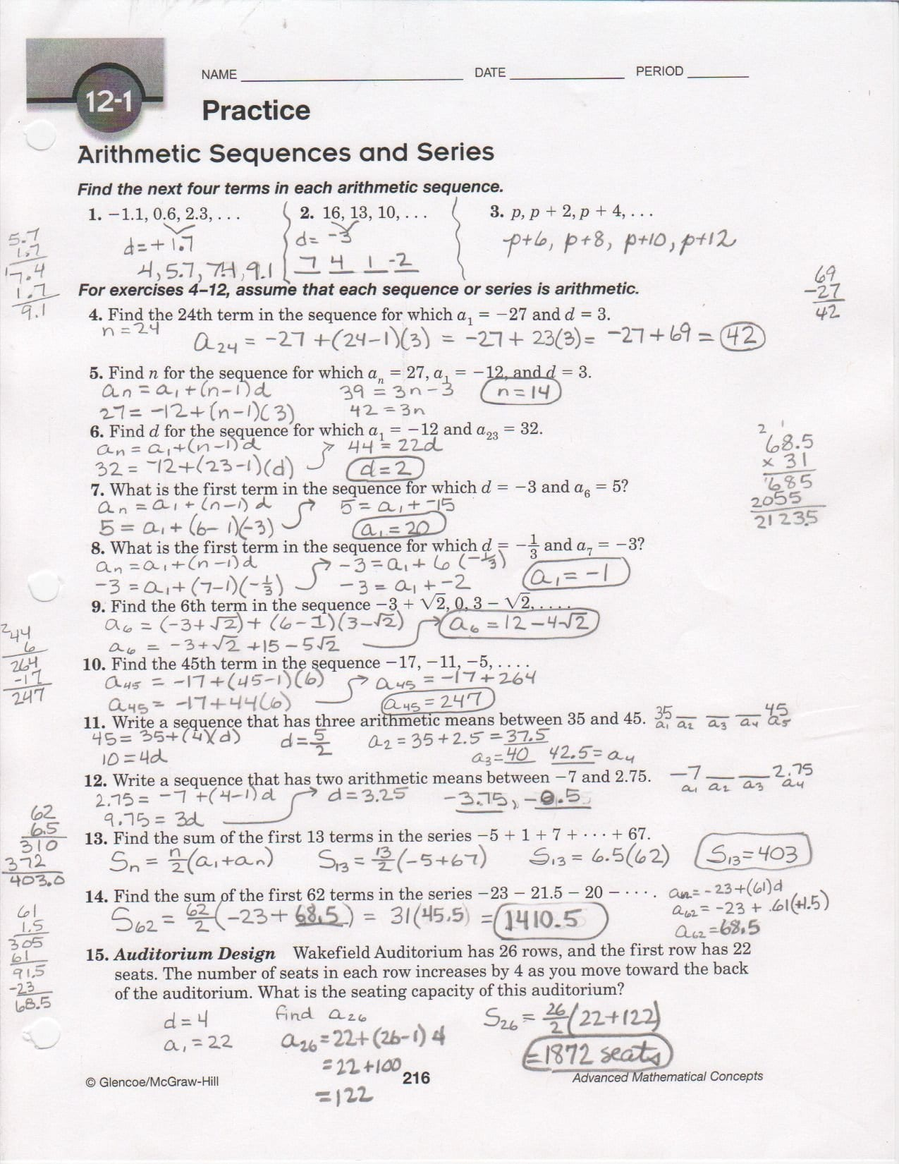 Arithmetic Sequences Worksheet 1 Answer Key  Briefencounters Along With Arithmetic Sequences Worksheet 1 Answer Key