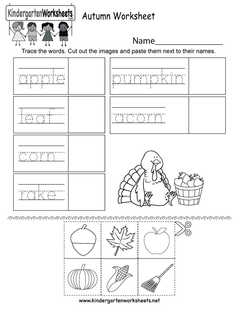 Autumn Worksheet  Free Kindergarten Seasonal Worksheet For Kids Regarding Fall Worksheets For Kindergarten