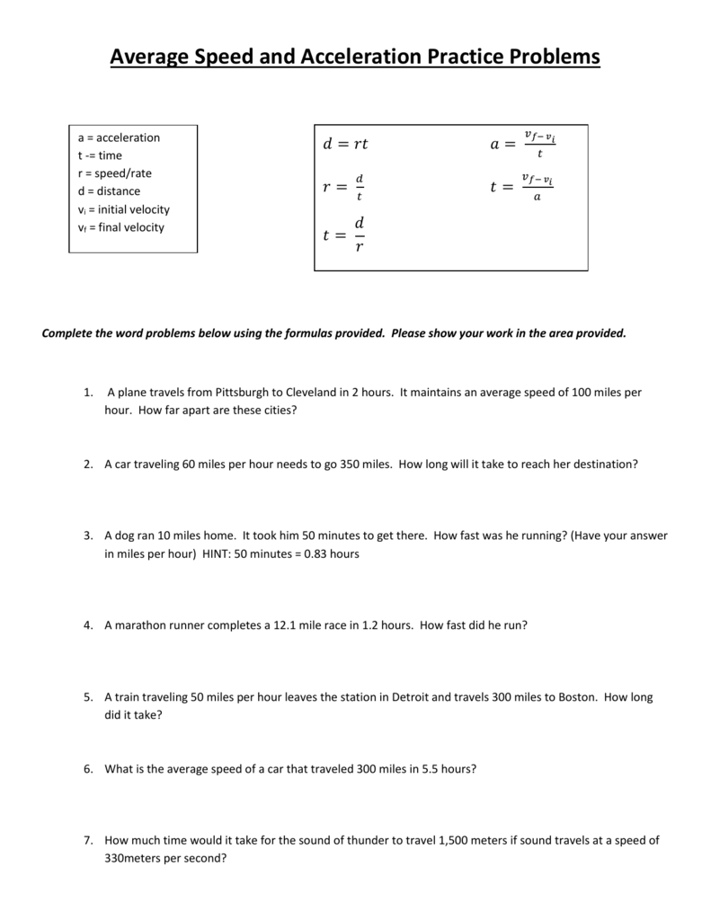 Average Speed And Acceleration Practice Problems With Average Speed Worksheet Answers