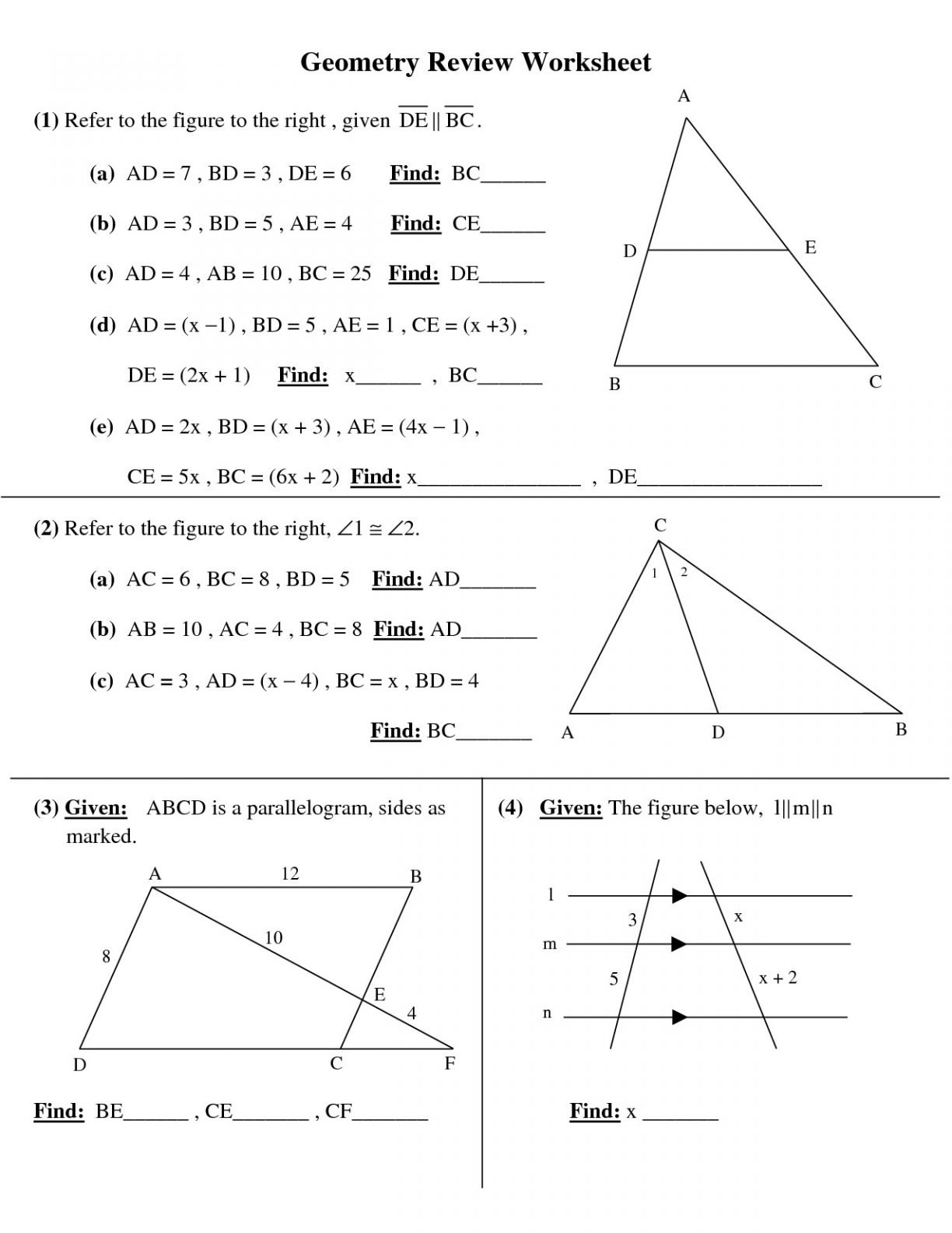 Awesome Collection Of Basic High School Mathorksheets 6Th Grade Throughout Free Geometry Worksheets For High School