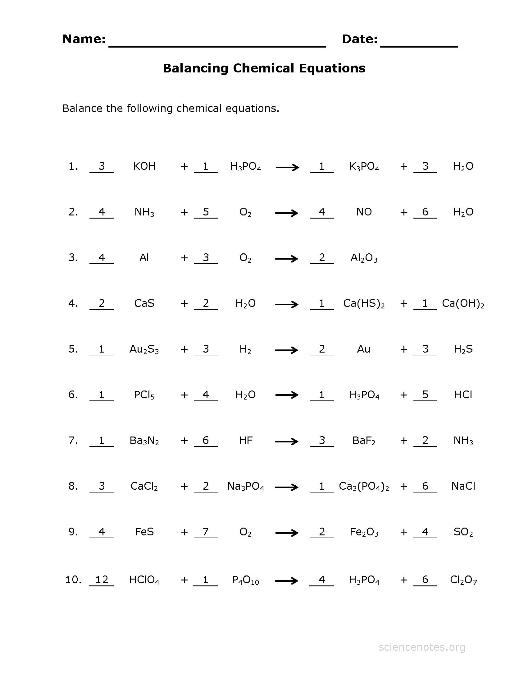 Balancing Chemical Equations Practice Sheet Together With Balancing Equations Practice Worksheet Answers