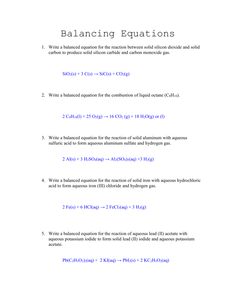 Balancing Equations Worksheet Answers For Writing Equations Worksheet