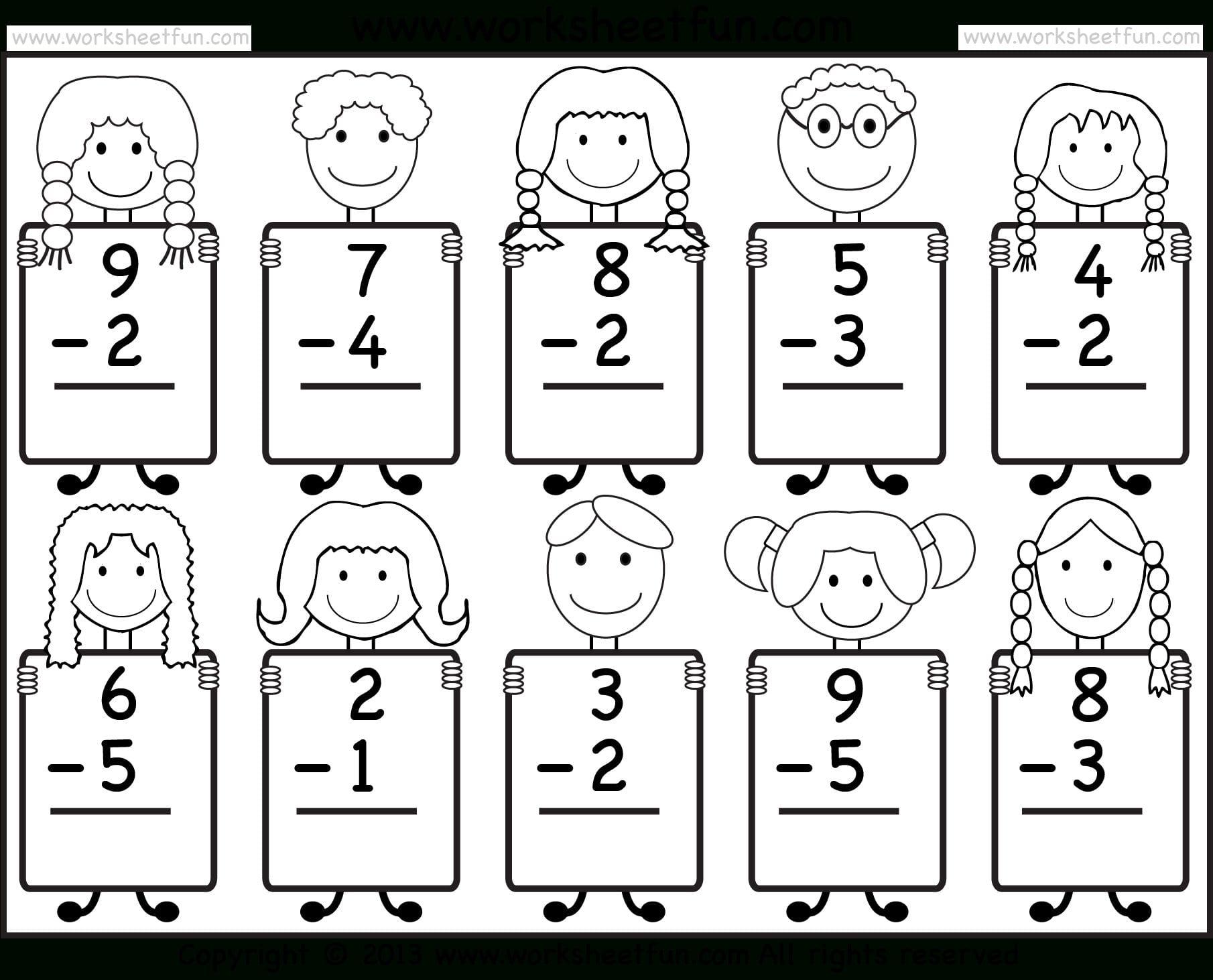 Beginner Subtraction – 10 Kindergarten Subtraction Worksheets  Free For Addition And Subtraction Worksheets For Kindergarten