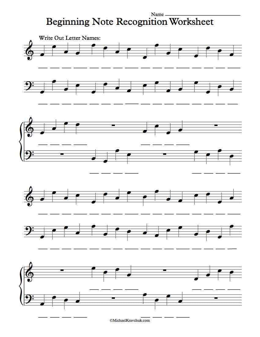 Beginning Piano Note Recognition Worksheet  Michael Kravchuk And Beginner Piano Worksheets