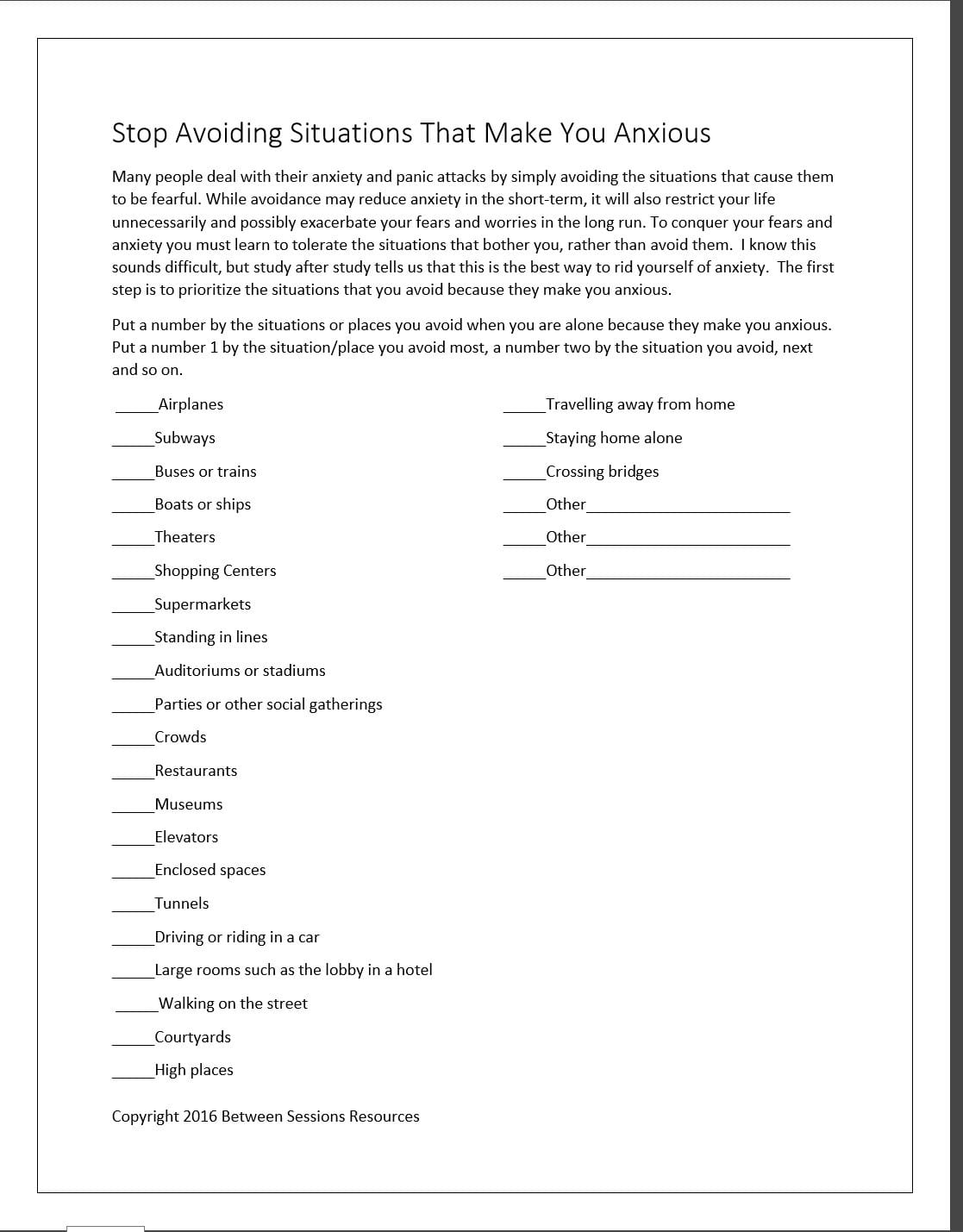 Between Sessions Anxiety Disorder Help  Treatment For Anxiety For Anxiety Worksheets For Adults