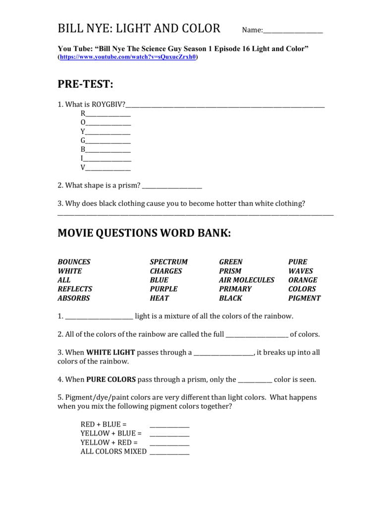 Bill Nye Light And Color Name As Well As Bill Nye Light Optics Worksheet Answers