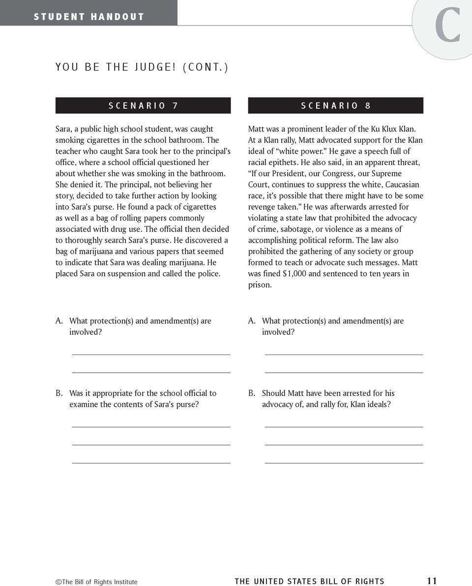Bill Of Rights The United States How Does The Bill Of Rights Regarding Bill Of Rights Scenarios Worksheet Answer Key