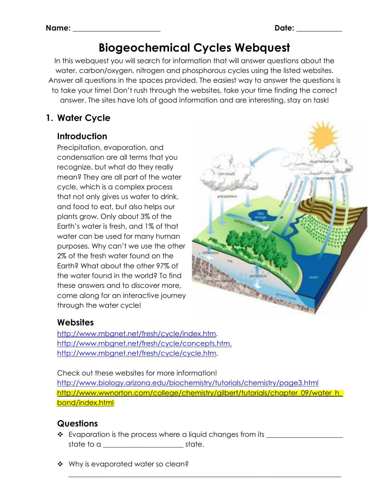 Biogeochemical Cycles Webquest For Biogeochemical Cycles Worksheet Answers