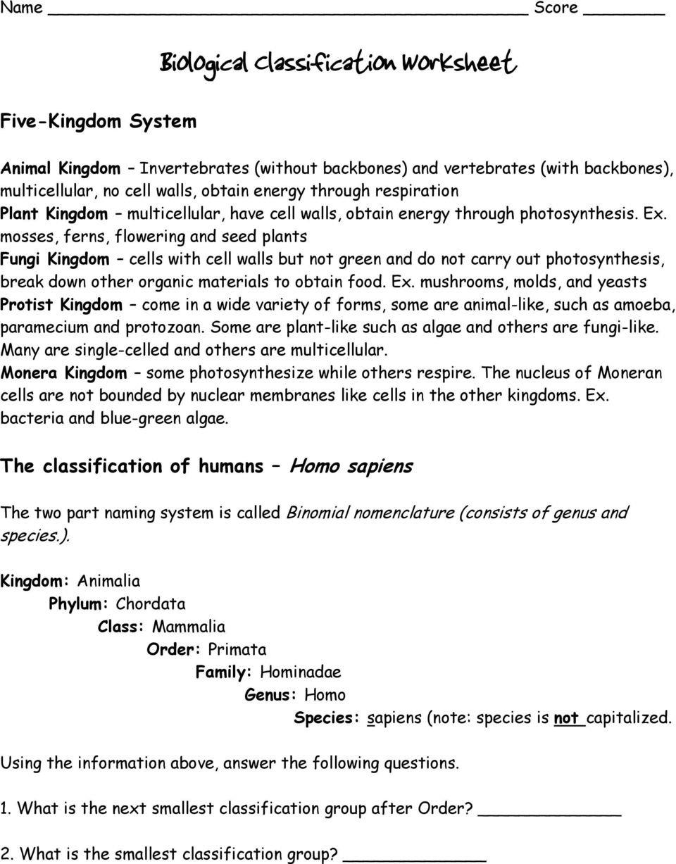 Biological Classification Worksheet  Pdf Along With Biological Classification Worksheet