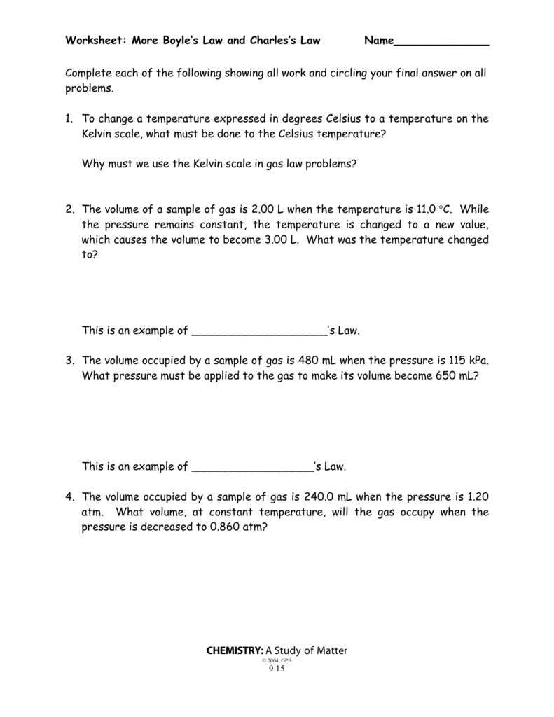 Boyle's Law And Charles' Law Worksheet Also Gas Law Problems Worksheet With Answers