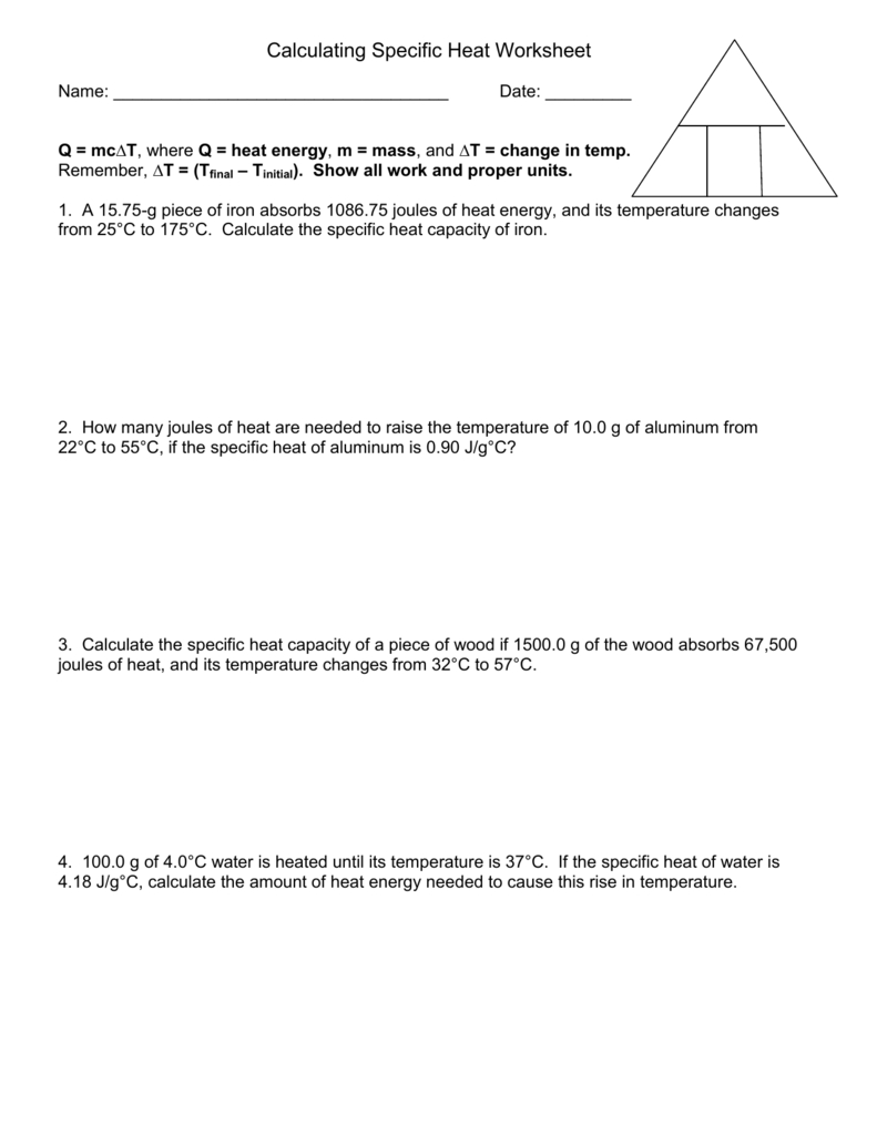Calculating Specific Heat Worksheet For Heat Calculations Worksheet Answers