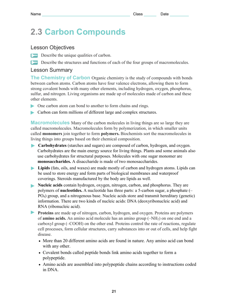 Biology 2 3 Carbon Compounds Worksheet Answers ...