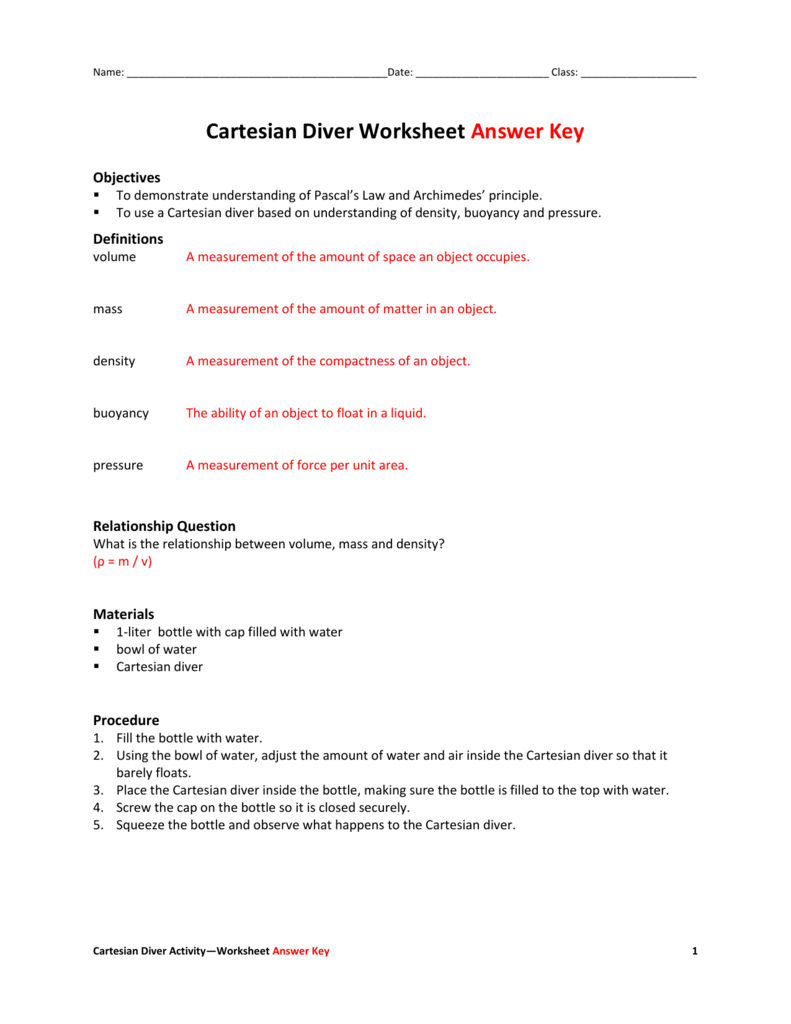 Gas Laws And Scuba Diving Worksheet Answer Key ...