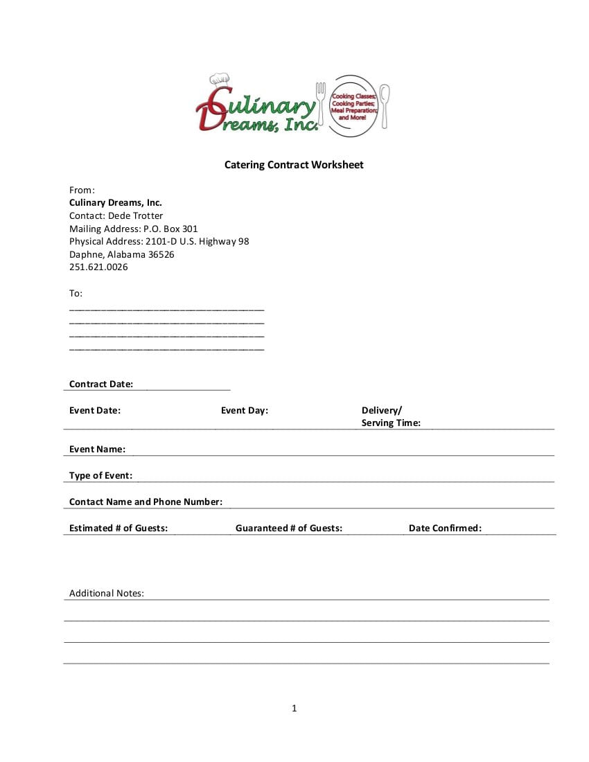 Catering Worksheet  Culinary Dreams Inc For Catering Contract Worksheet