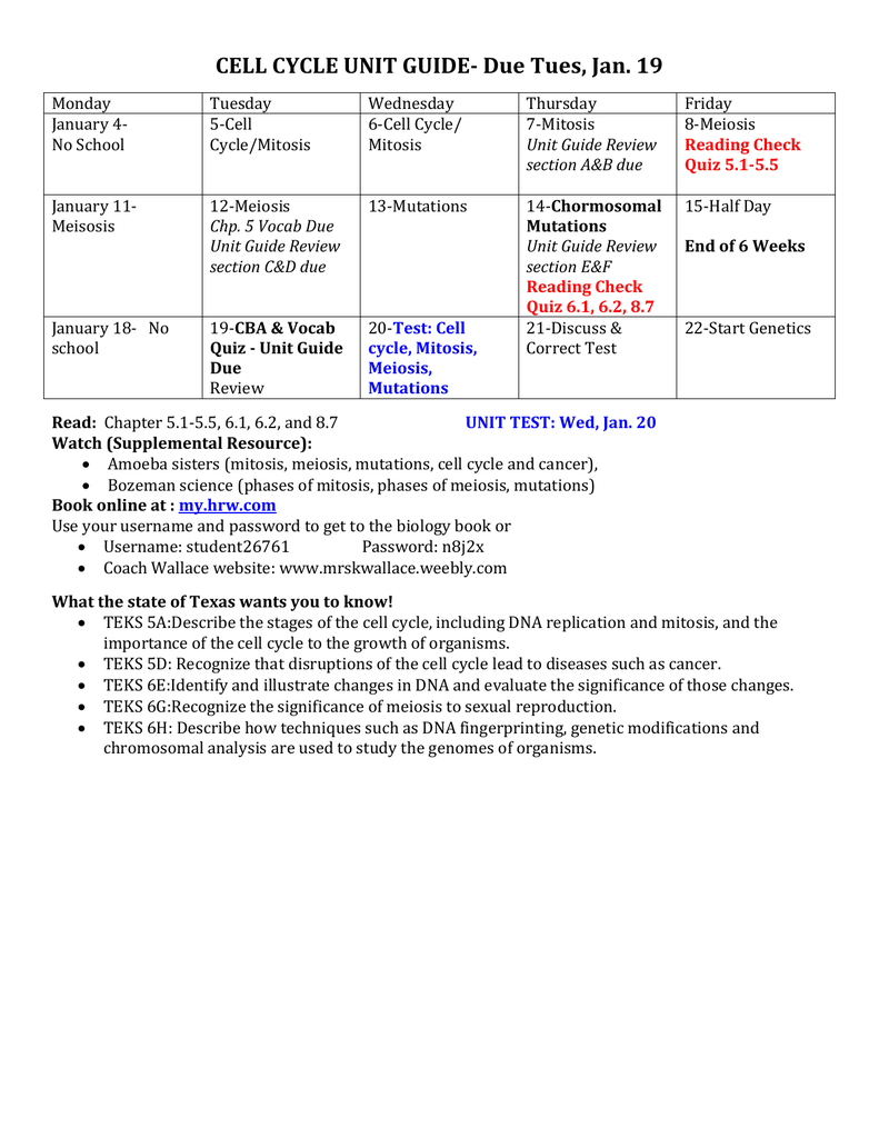 Cell Cycle Meiosis  Mutations Unit Guide Due Pertaining To The Amoeba Sisters The Cell Cycle And Cancer Video Worksheet