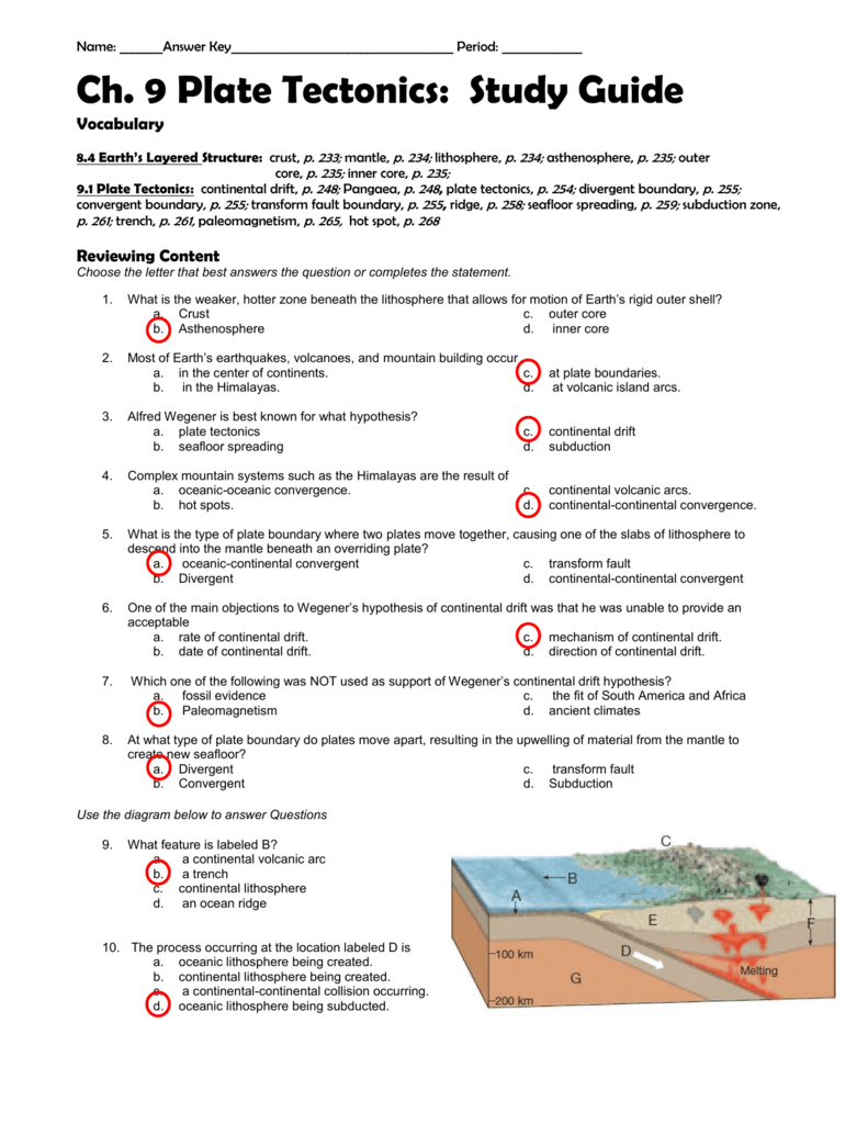 Ch 9 Study Guide Answer Key Throughout Plate Tectonics Worksheet Answer Key