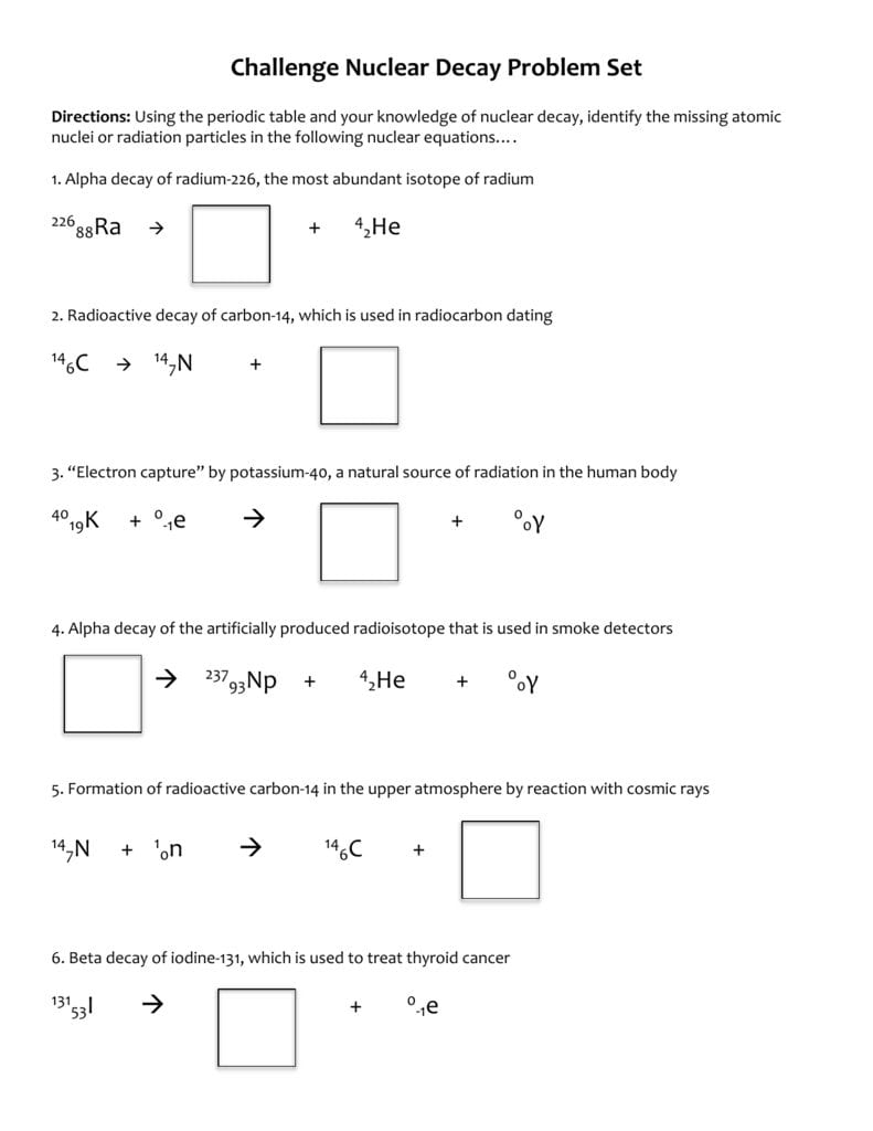 Challenge Nuclear Decay Worksheet For Nuclear Decay Worksheet Answers