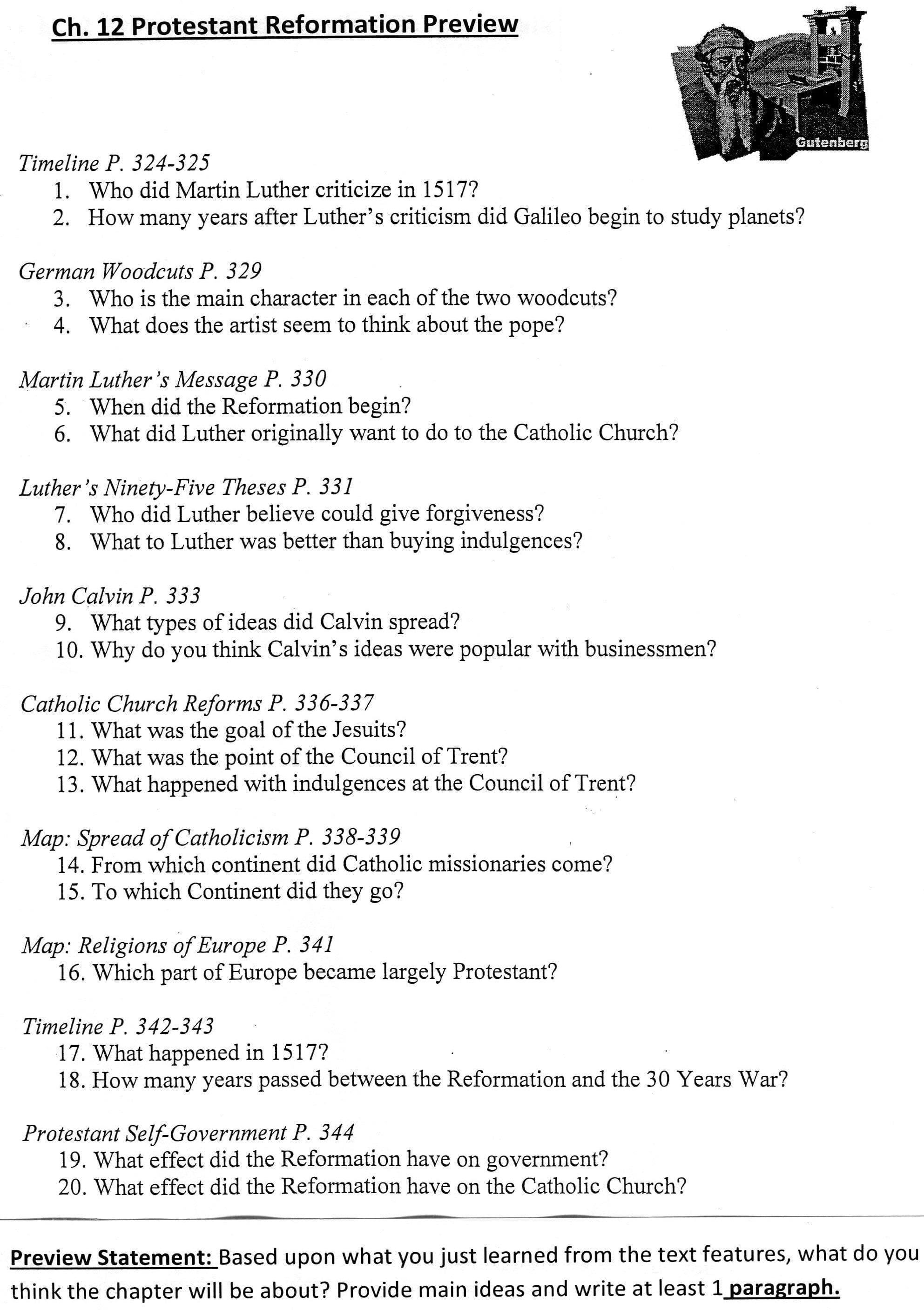 Chapter 1 Section 4 The Reformation Continues Worksheet Answers In Chapter 1 Section 4 The Reformation Continues Worksheet Answers