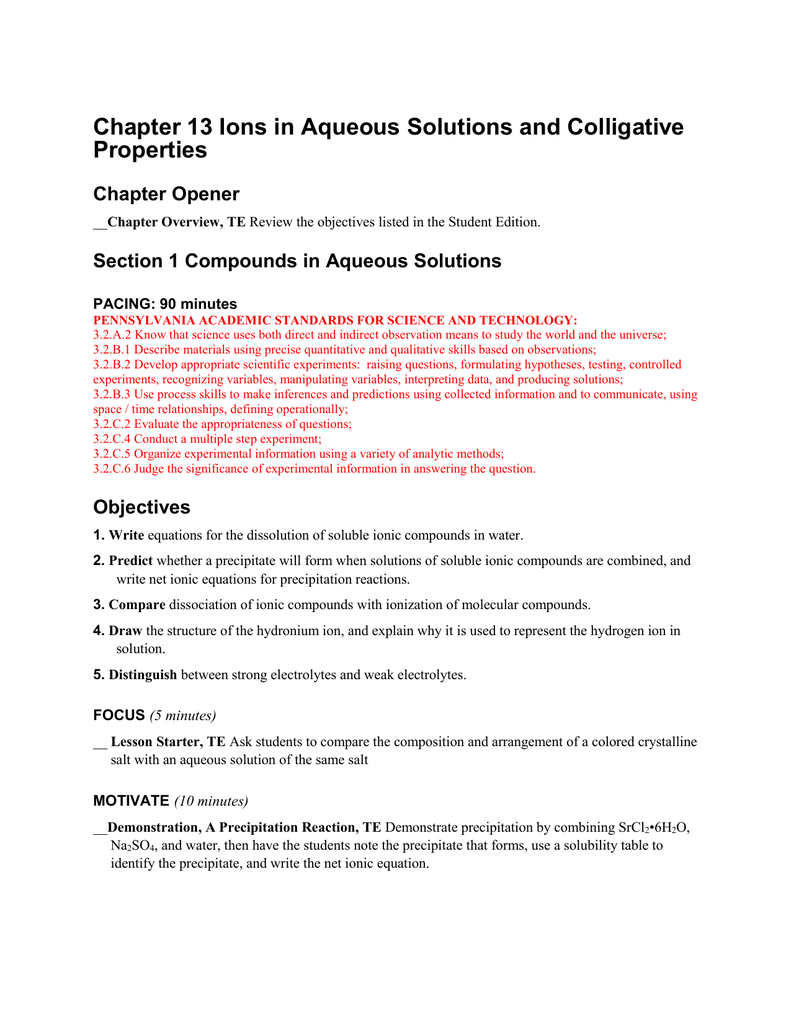 Chapter 13 Ions In Aqueous Solutions And Colligative Properties Pertaining To Reactions In Aqueous Solutions Worksheet Answers