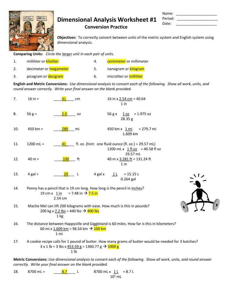 Check Answers To Da Ws 1  Answer Key Pertaining To Dimensional Analysis Worksheet Answers