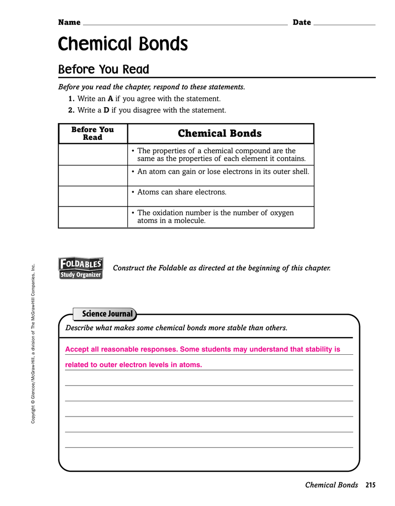 Chemical Bonds As Well As Section 1 Stability In Bonding Worksheet Answers
